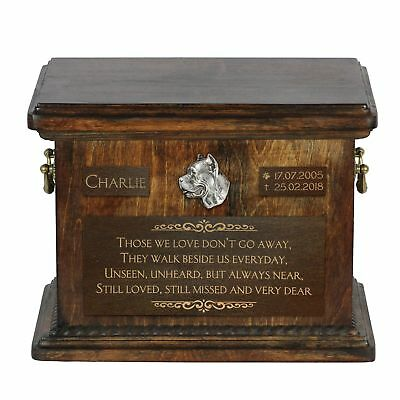Cane Corso - Urn for dog's ashes with relief and sentence Art Dog UK