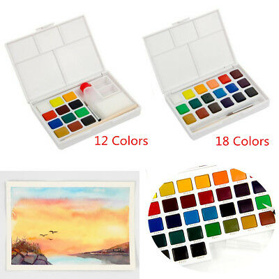 12 - 18 Colors Solid Watercolor Artist Cakes Pigment  Brush Painting Sketch Set