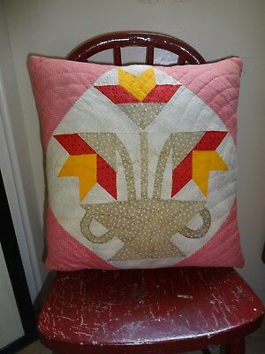 Vintage Red & Cheddar Quilt Pillow ~ Perfectly Primitive Carolina Lily