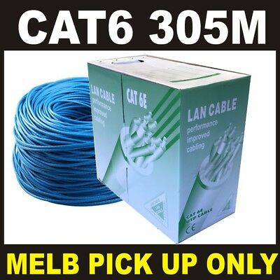 1 X Blue 305M CAT6 UTP Solid CCA Core Network Ethernet LAN Cable Roll *PICK UP *