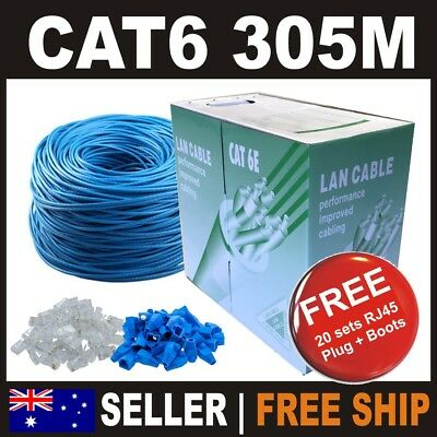 305m Blue Premium Cat6 RJ45 Ethernet LAN Network Cable Roll Box 10/100/1000m