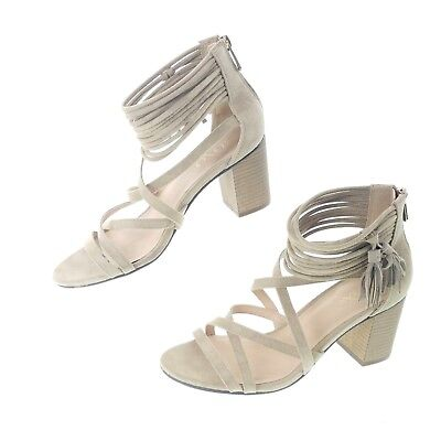 5f7132151 XOXO WOMENS 8.5 Sandals Elle Block-Heel Ankle-Strap Sand Tan Strappy ...