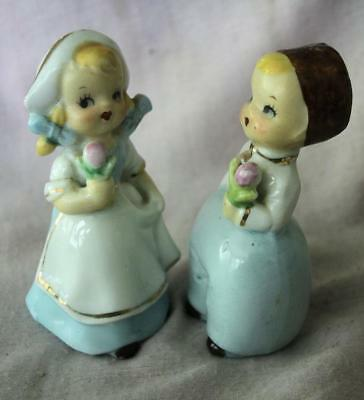 Vintage Porcelain Dutch Boy Girl Salt/Pepper Shakers - Japan