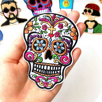 1x Skull Patch Cloth Iron on Embroidered Sew Applique Fabric Badge DIY Halloween