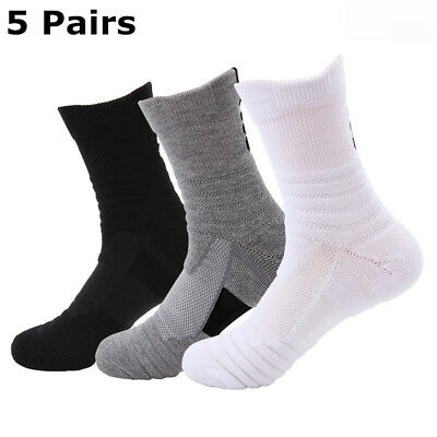 Elite Basketball Socks 5 Pack Dri-Fit Athletic Crew Sport Middle Ankle for Men
