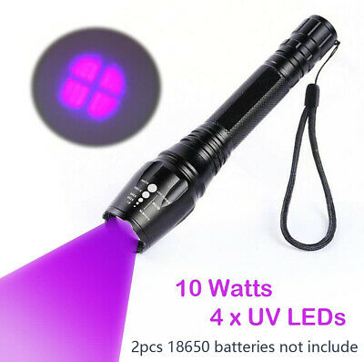 10W Poweful 395nM 4 x T6 LED Blacklight Flashlight Zoom Rechargeable UV Torch