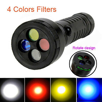 4 in1 White Red Yellow Blue Torch 4 Color Signal Strobe AAA 18650 LED Flashlight