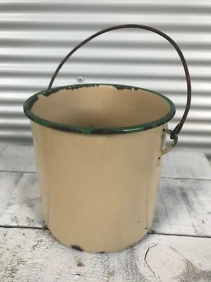 Vintage Enamelware Yellow with Green Trim Pot Billy