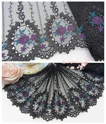 "7""*1Y Embroidered Tulle Lace Trim~Black+Deep Blue+Deep Purple~Dreamy Portrait~"