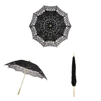 MagiDeal Wedding Lace Parasol Umbrella Bridal Bridesmaid Photo Prop Black