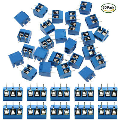 60Pcs 5.08mm 2/3 Pin PCB Mount Screw Terminal Block Connector Circuit Board