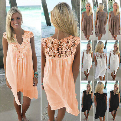 AU Womens Sleeveless Chiffon Lace Ladies Summer Beach Mini Sun Dress Plus Size