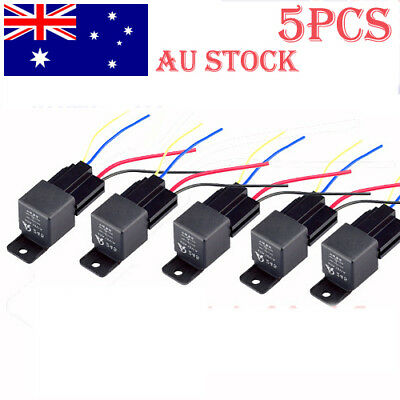 5Set 12V Volt DC 40A AMP Relay & Socket SPST 4Pin 4 Wire For Car Truck AU 2018