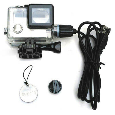 Transparent Waterproof Case USB Charging Outdoor Sports For GoPro Hero 4 3+