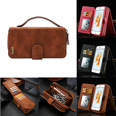 For iPhone 7 8 6s 5 Plus Removable Leather Zipper Cover Purse Wallet Case Stand