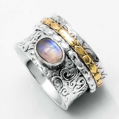 Moonstone Solid 925 Sterling Silver Spinner Ring Meditation statement Ring SR305