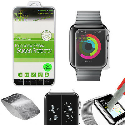 REAL TEMPERED GLASS FILM LCD SCREEN PROTECTOR FOR APPLE iWATCH 42MM WATCH