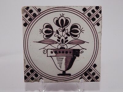 Antique 18Th Century Manganese Hand Painted Holland Faience Delft Tile
