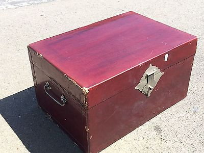 Antique Chinese Trunk Kuong Po Loi Leather canton