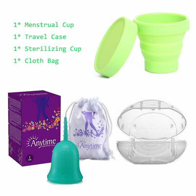 Anytime Menstrual Cup Resuable Lady Moon Cups with Travel Case & Sterilizing Cup
