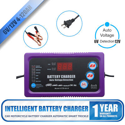 6V&12V 4-120AH Automotive Trickle Battery Charger Maintainer for Car Motorcycle