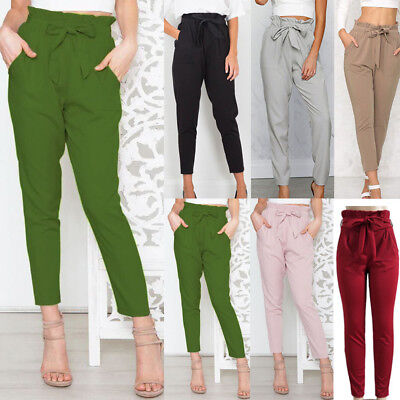 Women Ruffed Waist Trousers Office Casual Loose Harem Pants Stretch Belted