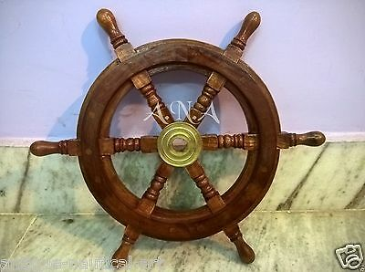15 inch Ship Wheel Wooden Marine Wall Decorative Collectible Item