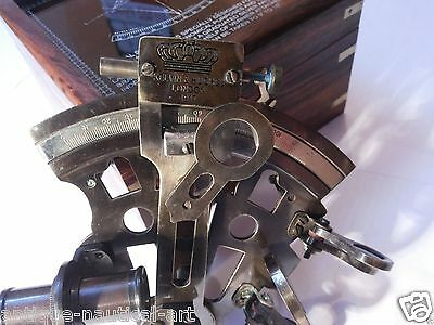 Antique Brass Sextant German Marine Sextant With Wooden Box