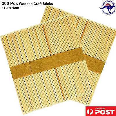 200 100 Wooden Craft Sticks Paddle Pop Popsicle Coffee Stirrers Ice Cream Stick