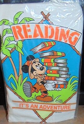 Vintage Disney Mickey Mouse Reading Is An Adventure T-Shirt Youth 8-10 New!