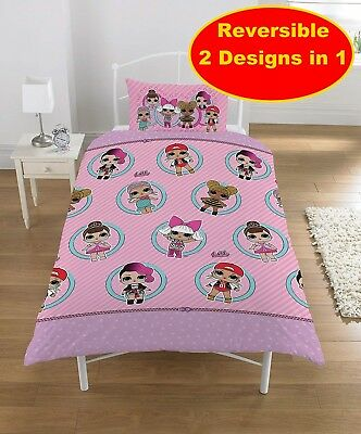 New Lol Surprise Single Duvet Quilt Cover Set Girls Kids Pink Bedroom Gift