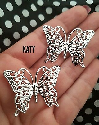 Vintage Style  Filigree Silver Pair of Butterflies Metallic 2 Pieces BROOCHES