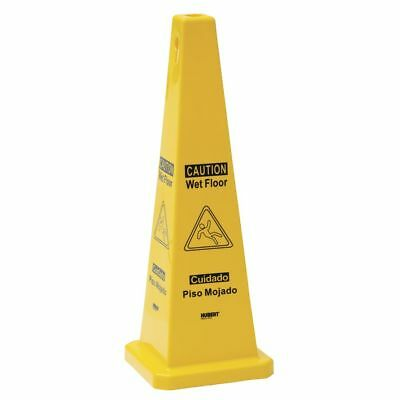 "HUBERT Wet Floor Safety Cone Yellow Plastic 4 Sided - 11""L x 11""W x 37 3/8""H"