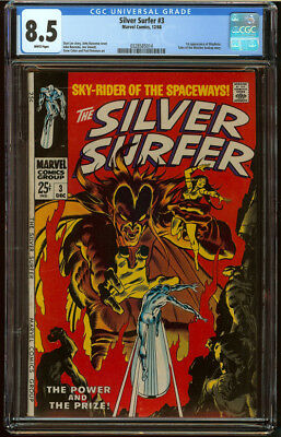 Silver Surfer #3 CGC 8.5 White Pgs First appear Mephisto HOT Silver Age Key Book