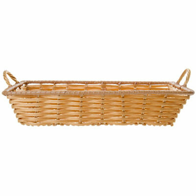 "Storage Basket, Rectangular, Natural Color With Handles - 18"" L x 12"" W x 3 1/2"