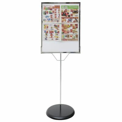 "Chrome Metal Newspaper/Ad Stand Sign Holder - 60"" H"