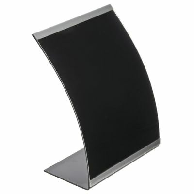 "Sign Holder, Black Acrylic Curved With Silver Accent Strip - 8 1/2 L x 11"" H"