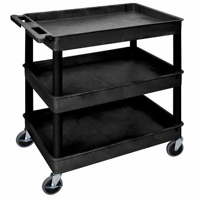 Luxor TC111-BLACK 3 Shelf Utility Cart with Lip, Black