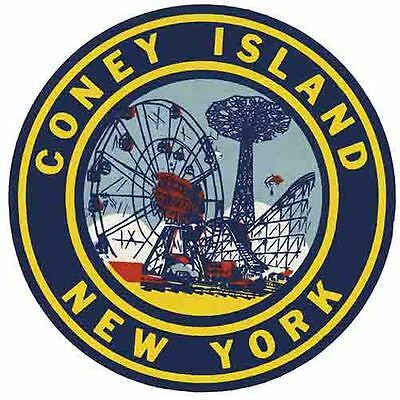 Coney Island New York roller coaster Vintage 1950's  Style Travel Decal  Sticker