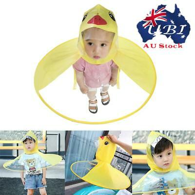 Kid Duck Baby Children Raincoat Umbrella UFO Shape Rain Hat Cape Foldable AU!