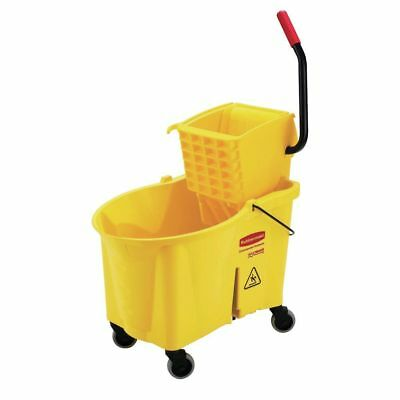 Rubbermaid 618688YEL WaveBrake Mop Bucket With Wringer  Side Press Style