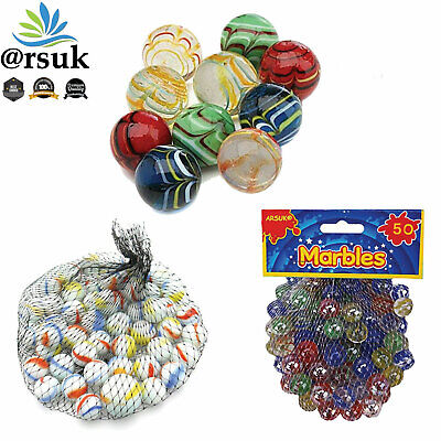 Glass Marbles Clear & Milky Coloured Marbles Kids Toys Vintage Traditional Games