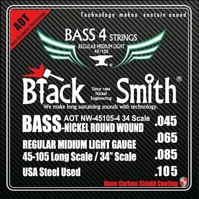 Bass Strings BlackSmith ANW45105434 Coated Nickel Round Wound Electric
