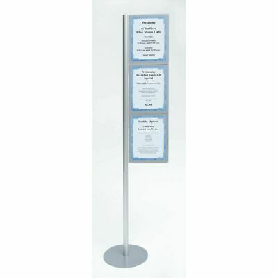 "Expressly HUBERT Gripflex Silver Aluminum Floor Stand Sign Holder Kit - 60""H"
