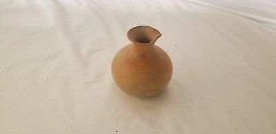 """Oriental ceramic stoneware vase with spout 3 3/4"""" tall Rust Color"""