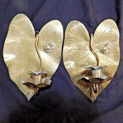 c1910 PAIR Arts And Crafts Brass Leaf Candle Sconces Aesthetic Movement Benson