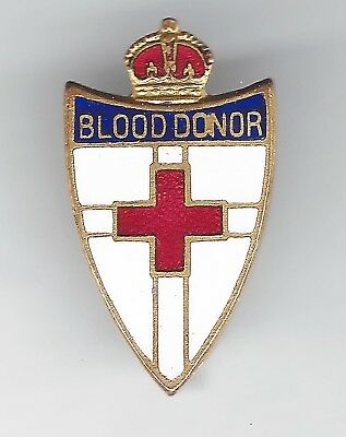 BLOOD DONOR enamel badge - Red Cross in shield with Crown - SWANN & HUDSON maker