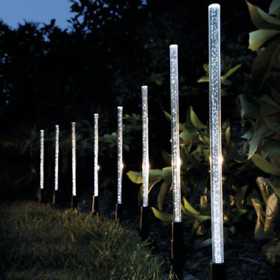 8x Solar Powered Bubble Crystal Rechargeable White LED Garden Lights Stick Lamps
