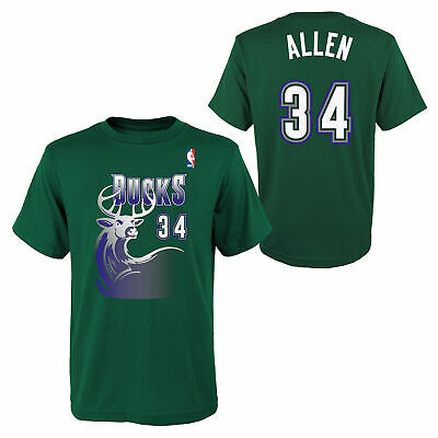 Milwaukee Bucks Ray Allen Hardwood Classics Name   Number T Shirt Youth Kids 763b113e5
