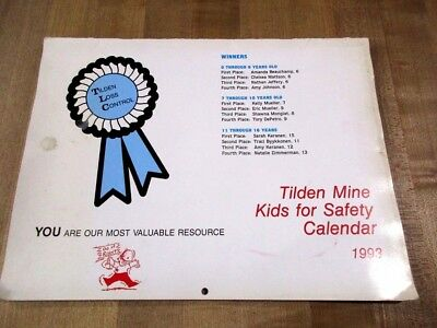 1993 Tilden Mine Kids for Safety Calendar Michigan Iron Mine kids contest